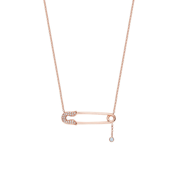 Diamond Safety Pin Necklace