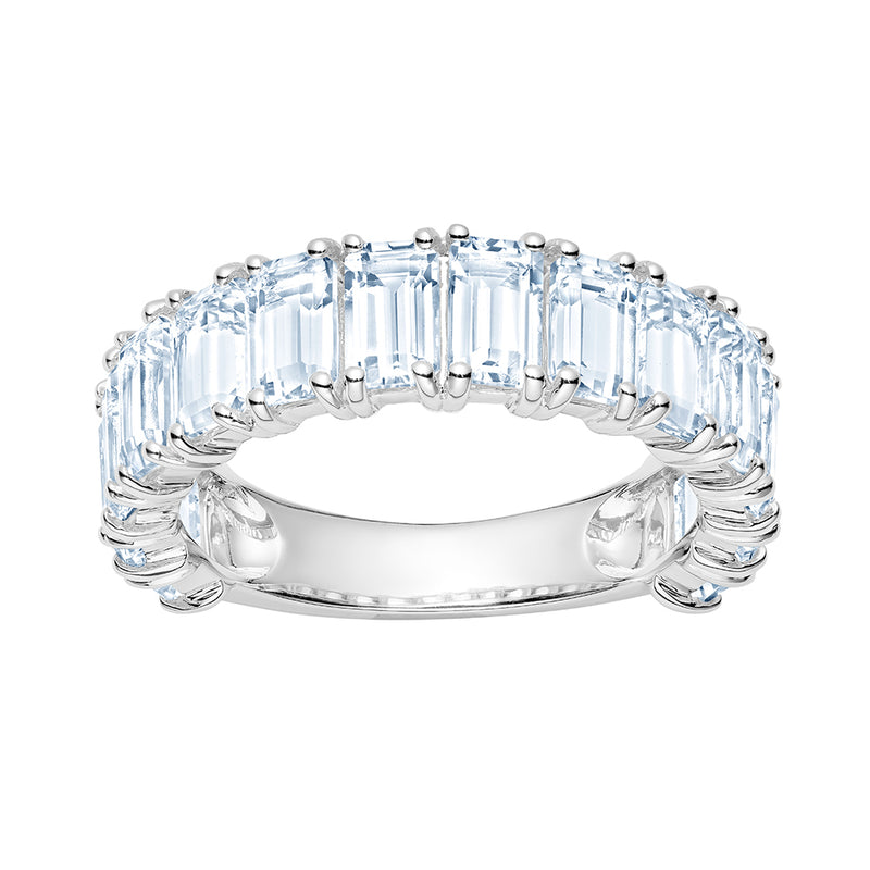 White Topaz Emerald Cut Eternity Ring
