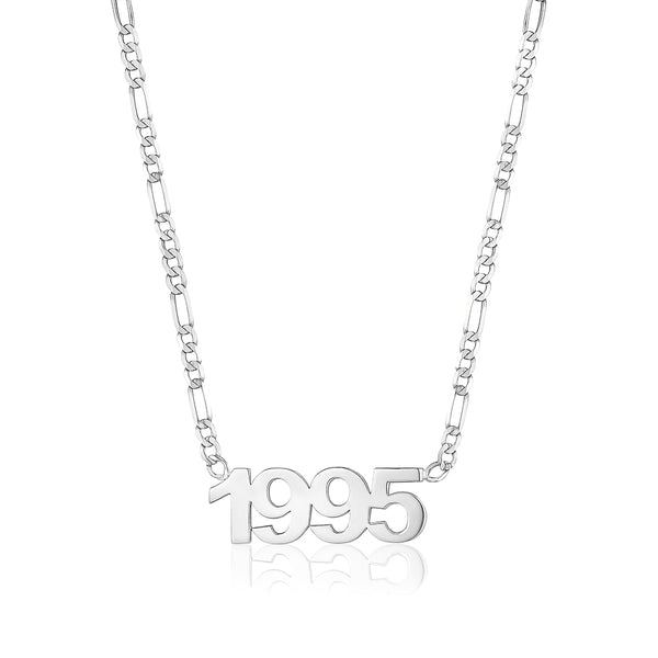 Custom Date Necklace with Figaro Chain
