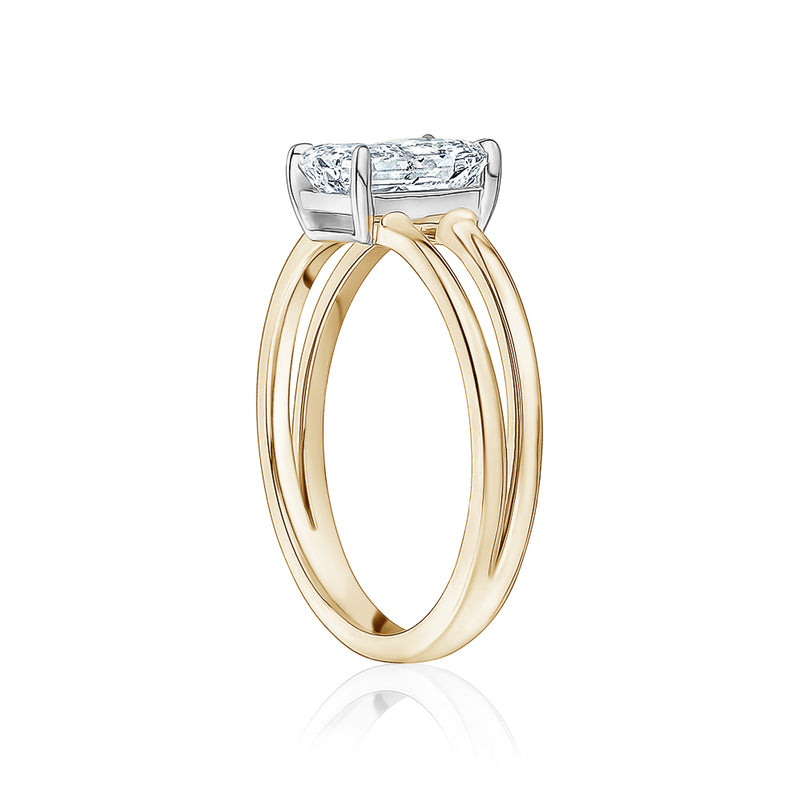 Radiant Cut with Gold Split Shank Engagement Ring
