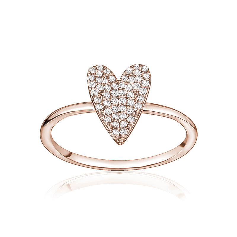 Diamond Elongated Heart Ring