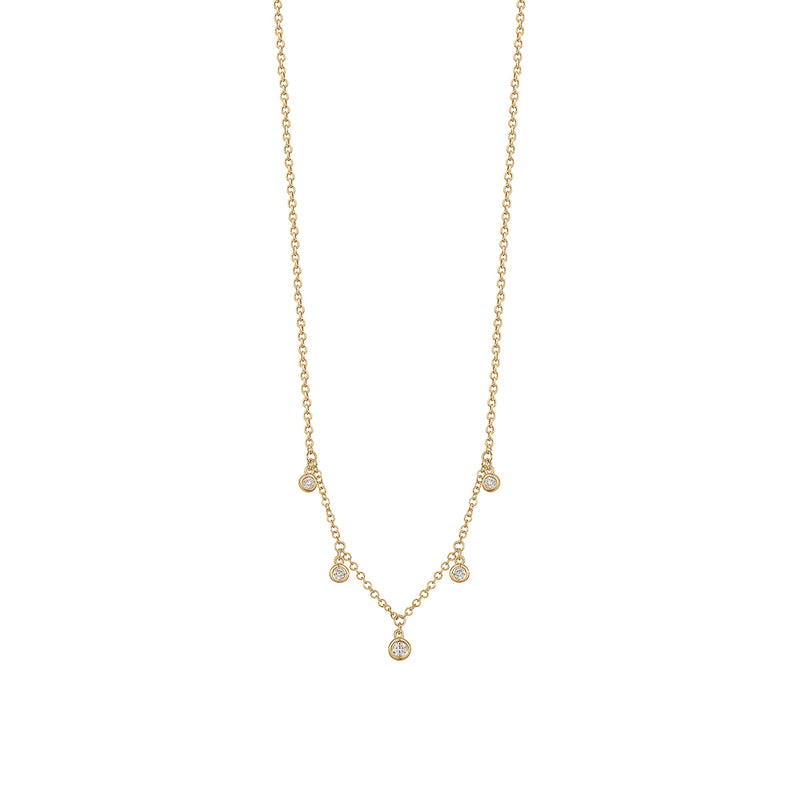 Dangling Diamond Bezel Necklace