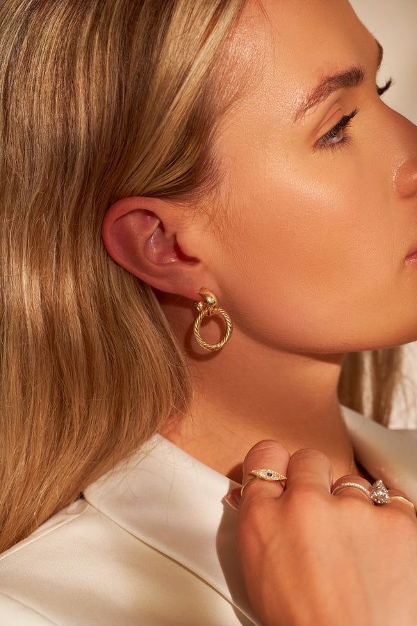 Gold Interlock Twisted Hoops