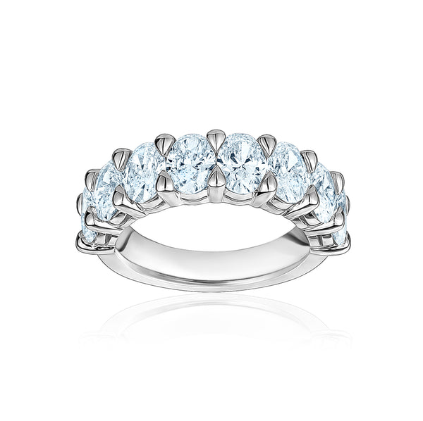 Semi Diamond Oval Cut Eternity Band