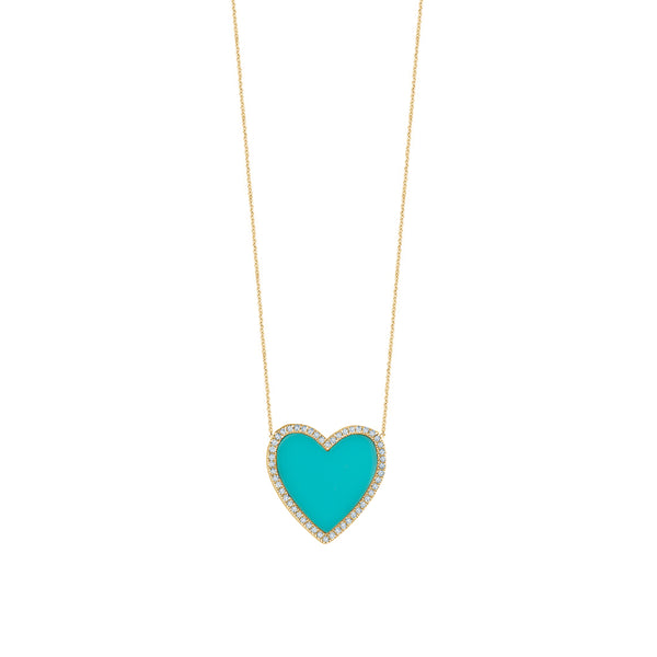Turquoise Diamond Heart Necklace