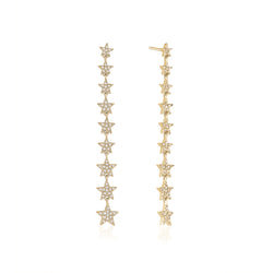 Diamond Dangling Star Earrings
