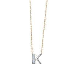 Baguette + Pavé Initial Necklace