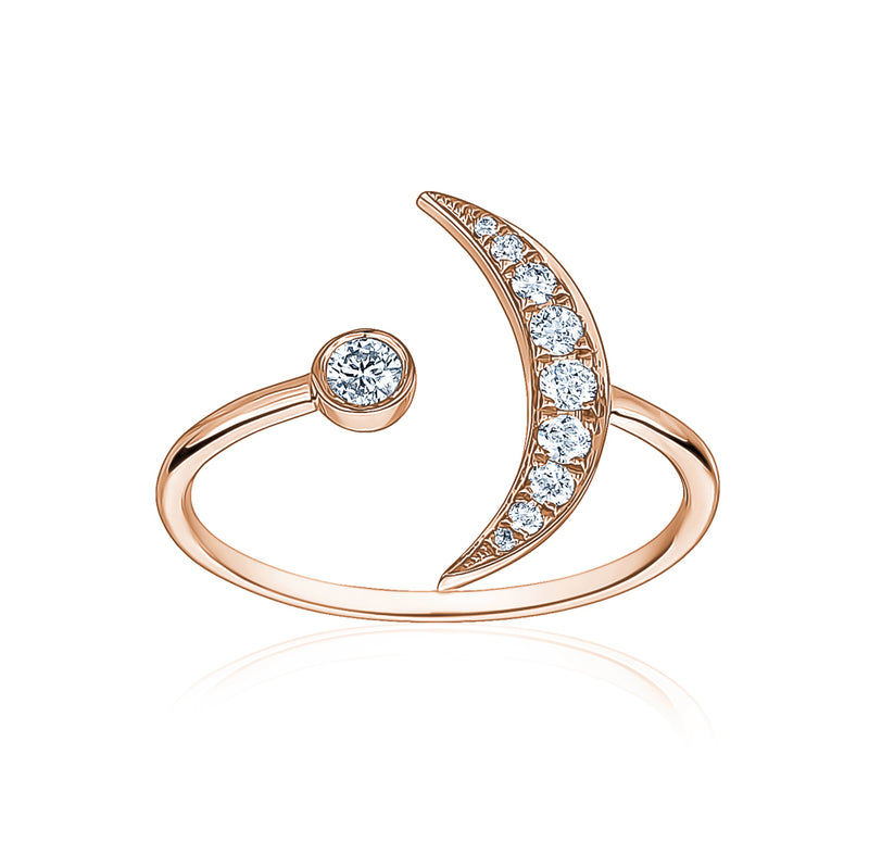 Diamond Crescent Moon Ring