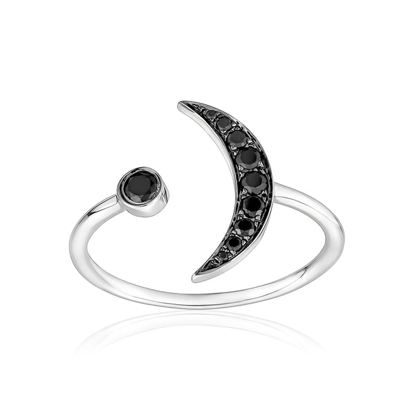 Black Diamond Crescent Moon Ring