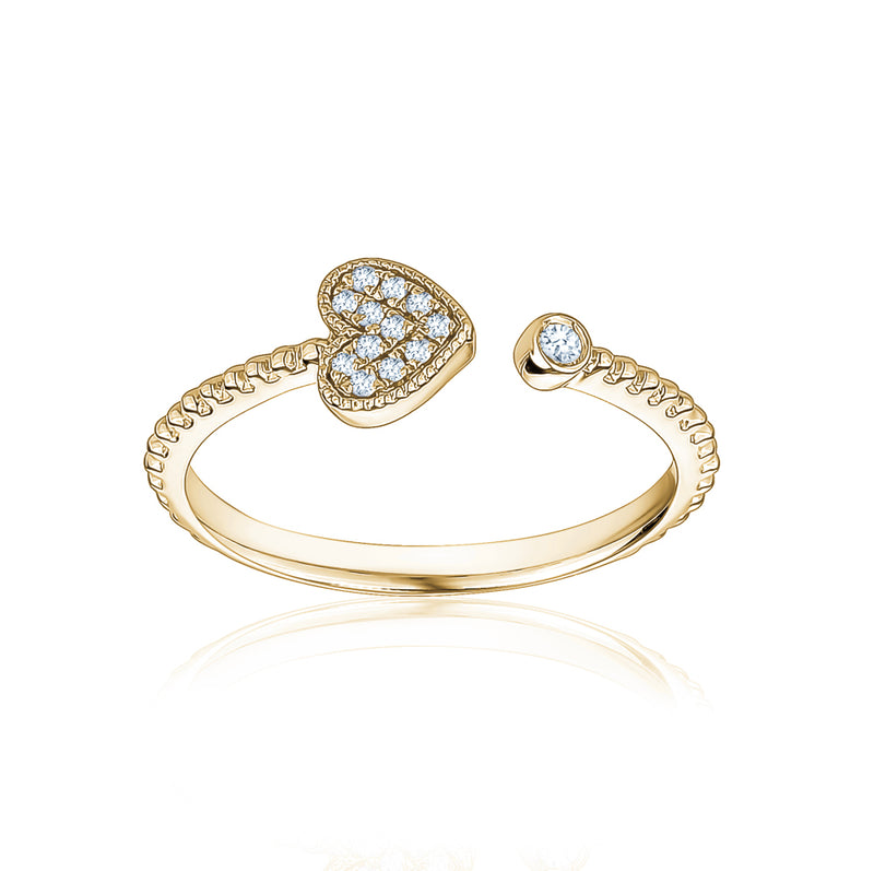 Half Way Diamond Heart Ring