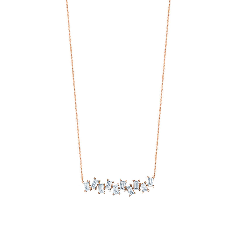 Jagged Baguette Diamond  Necklace