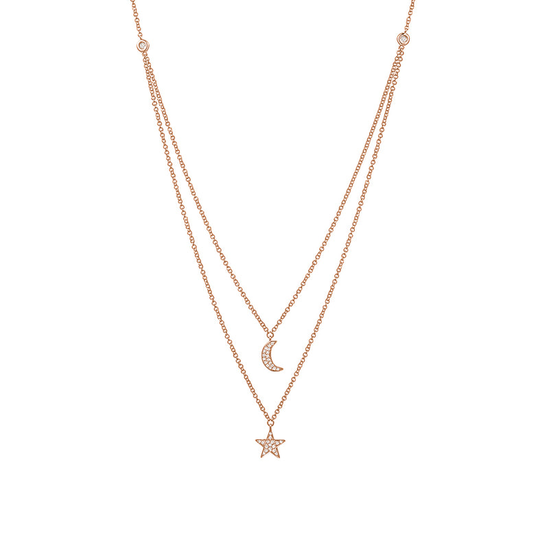 Double Layered Diamond StarMoon Necklace