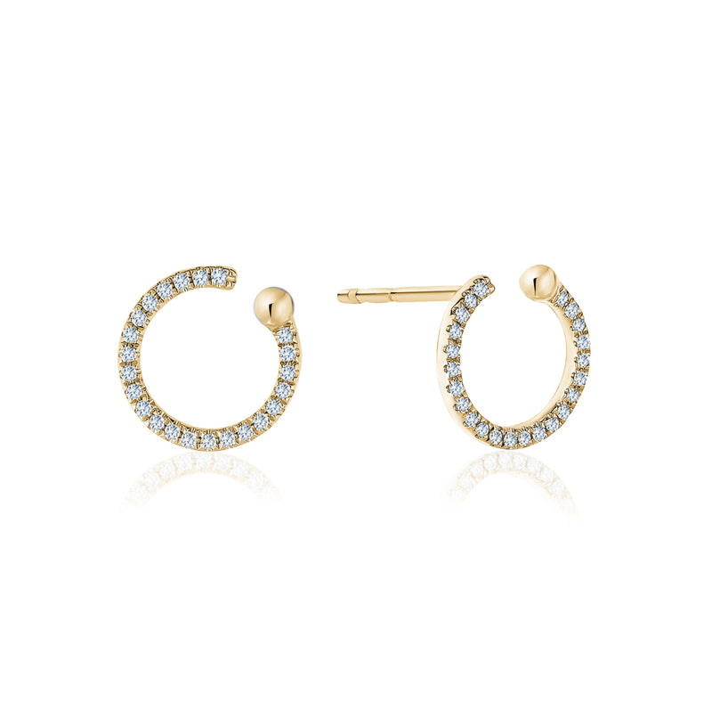 Open Circle Diamond Stud Earrings