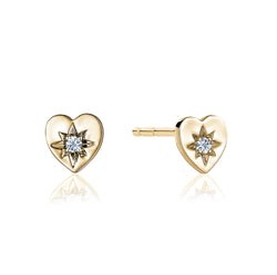 Heart Studs with Single Diamond