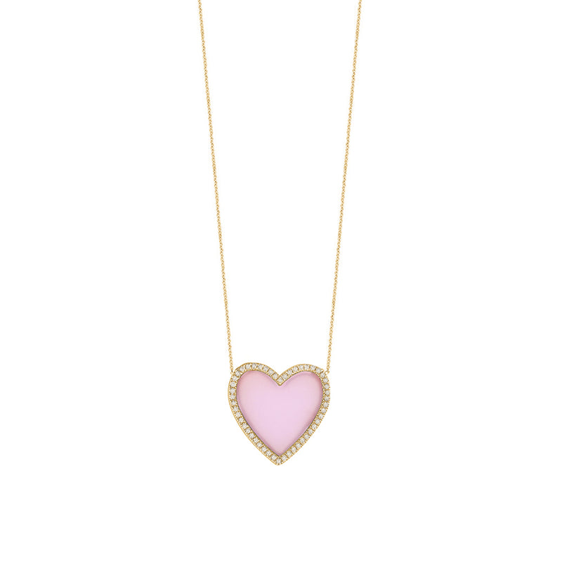 Pink Opal Diamond Heart Necklace