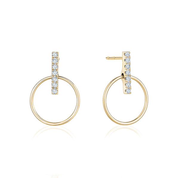 Diamond Bar Circular Earrings
