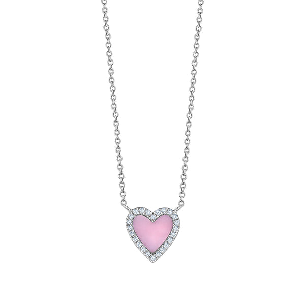 Mini Pink Opal Diamond Heart Necklace