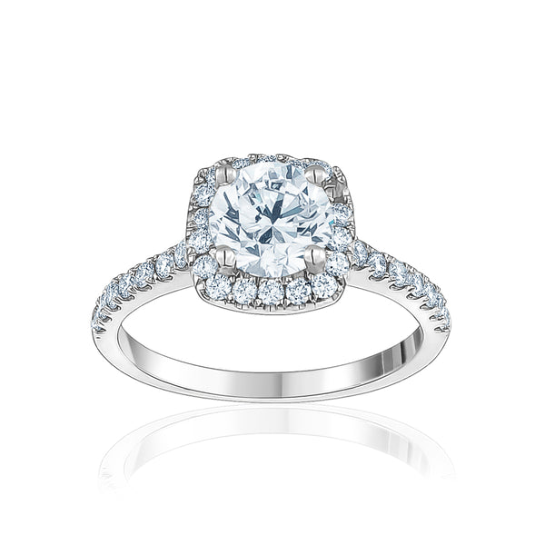 Cushion Cut Halo Round Center Stone