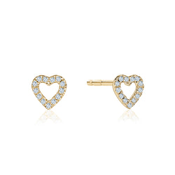 Open Diamond Heart Earrings