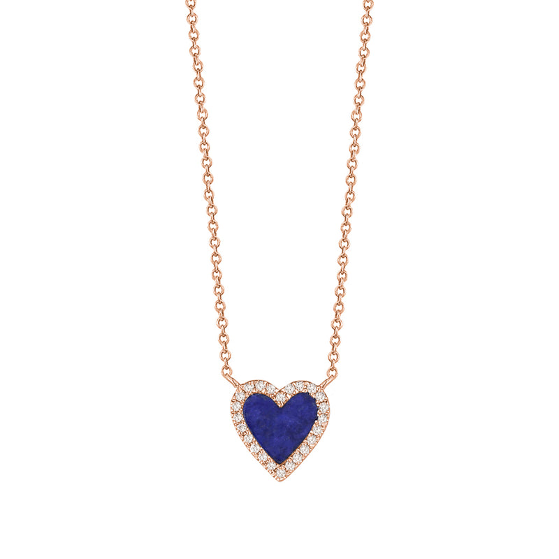 Diamond Navy Mini Heart Necklace