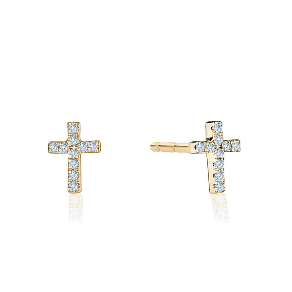 Diamond Mini Cross Studs