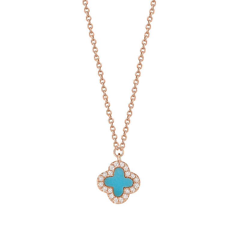 Turquoise Diamond Clover Necklace