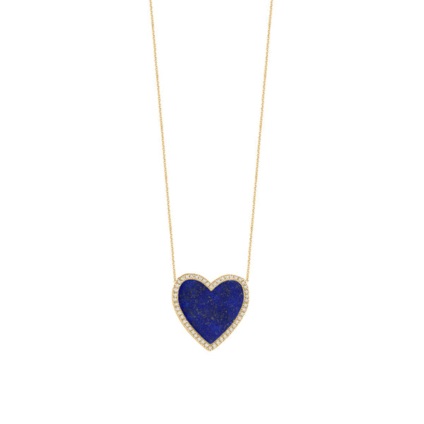 Navy Diamond Heart Necklace
