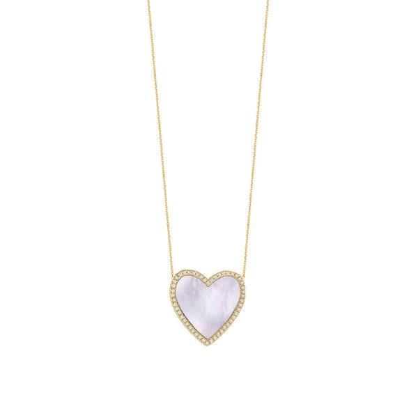 Mother Of Pearl Diamond Heart Necklace