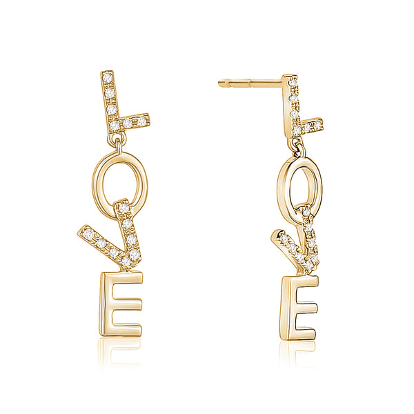 Diamond Dangling Love Earrings