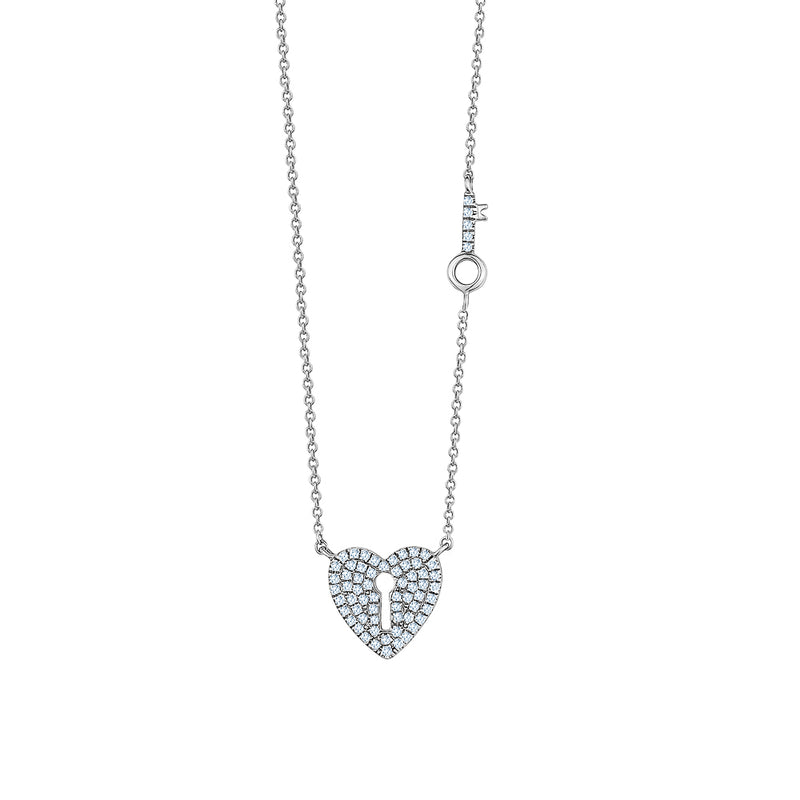 Pavé Heart Necklace with Arrow