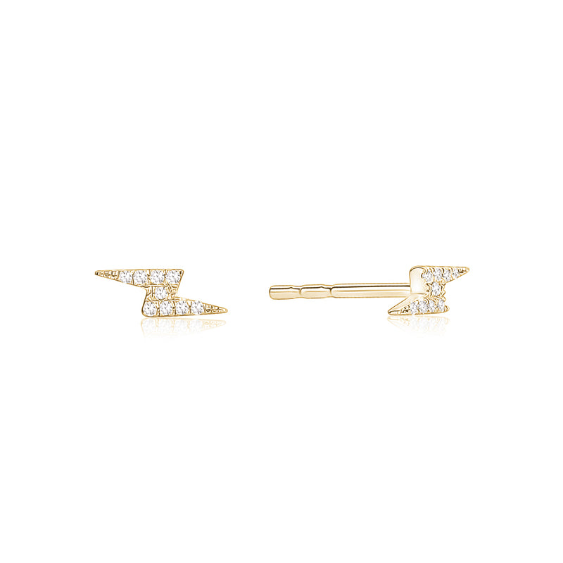 Diamond Lightning Bolts Studs