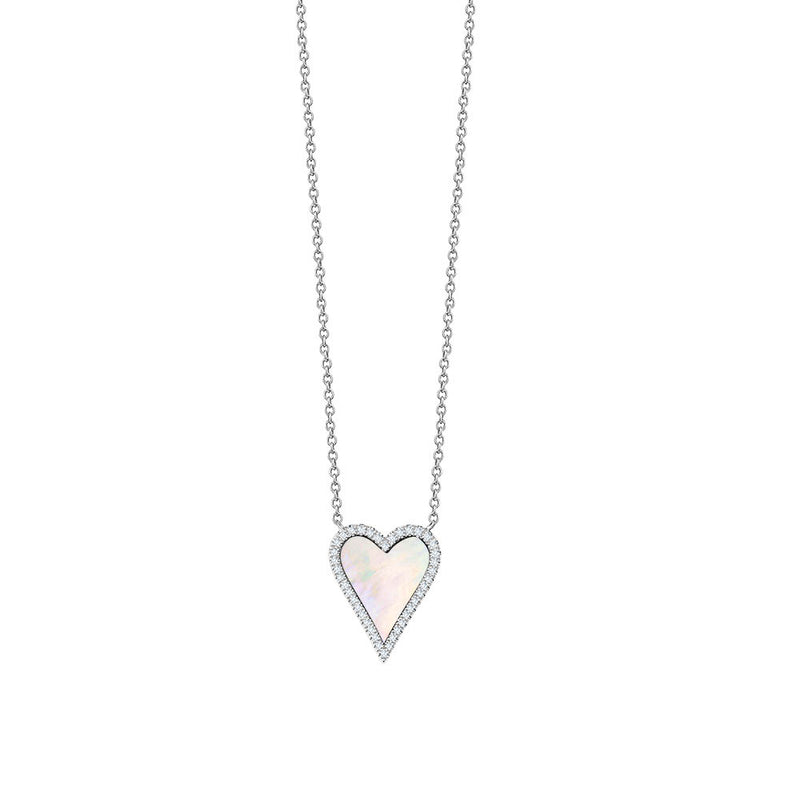 Diamond Pointy Heart Mother of Pearl Necklace