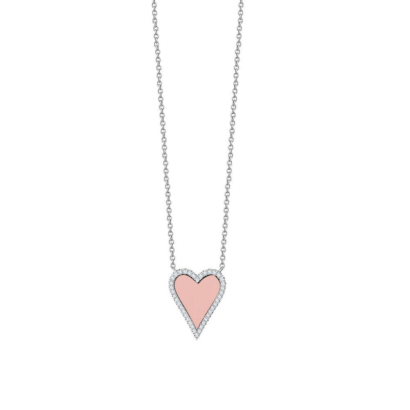 Diamond Pink Pointy Heart Necklace