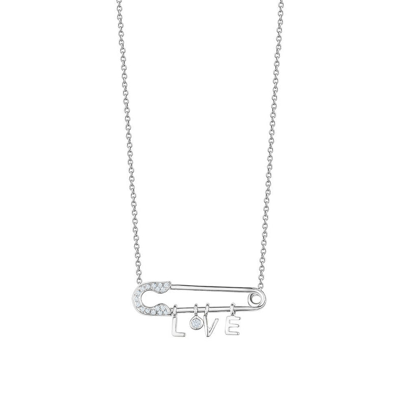 Diamond Love Safety Pin Necklace