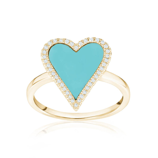 Diamond Turquoise Heart Ring