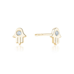 Diamond Mini Hamsa Studs