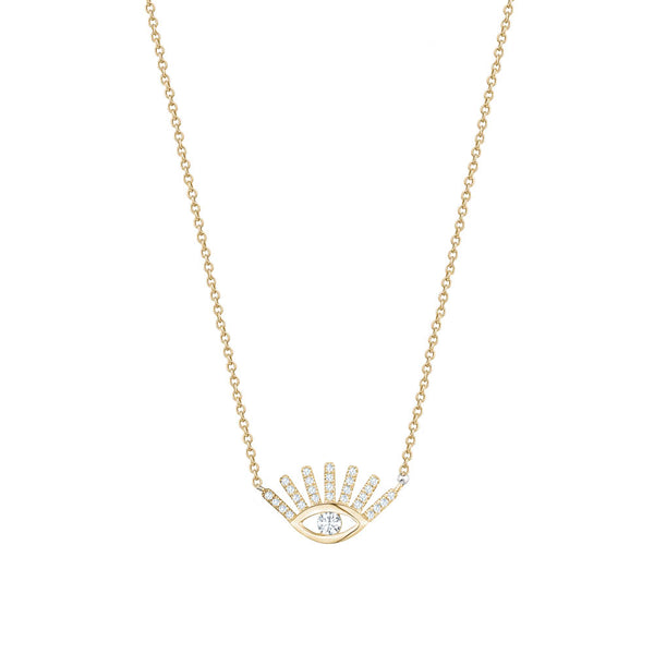 Diamond Khamsa Necklace With Lashes