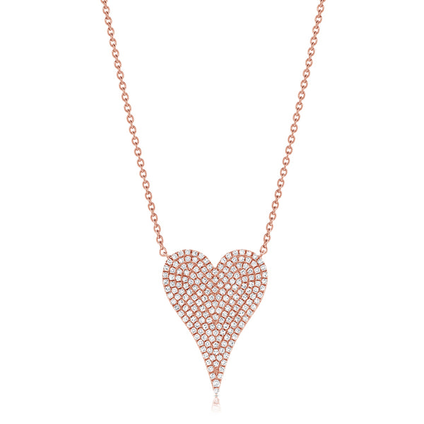 Diamond Pavé Pointy Heart Necklace