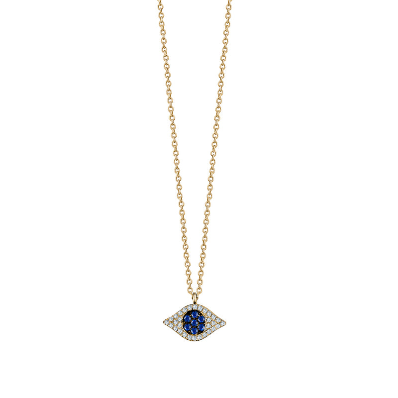 Diamond Sapphire Evil Eye Necklace