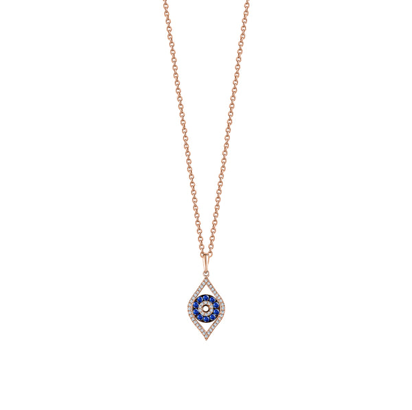 Dangling Sapphire Evil Eye Necklace
