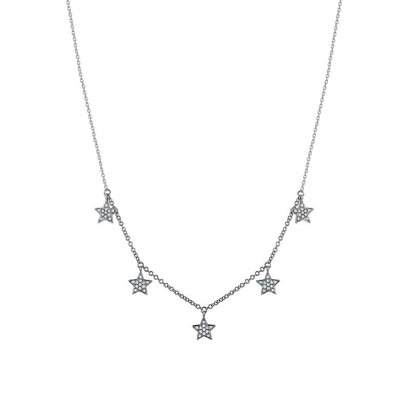 Dangling Diamond Multiple Star Necklace