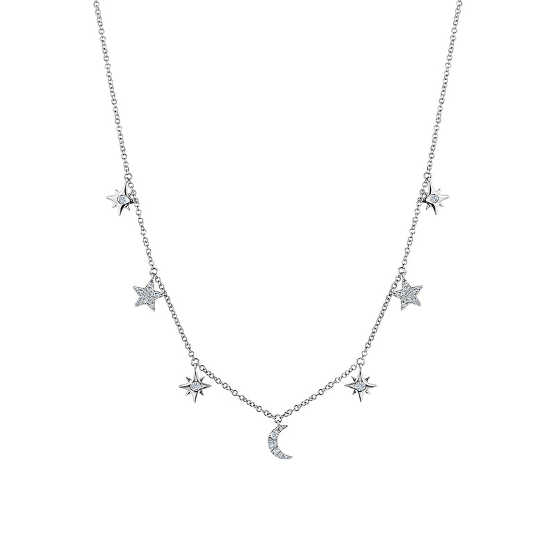 Dangling Diamond StarMoon Necklace