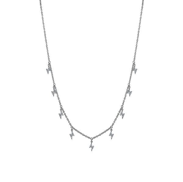 Dangling Diamond Lightning Bolts Necklace