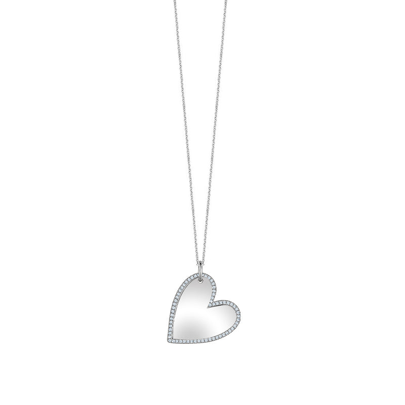 Mirror Diamond Heart Necklace