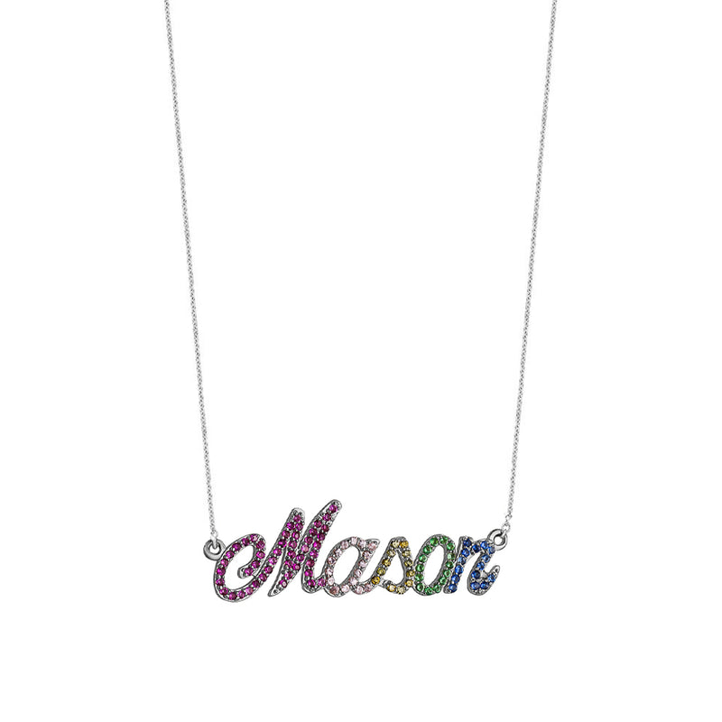 Rainbow Custom Cursive Name Necklace