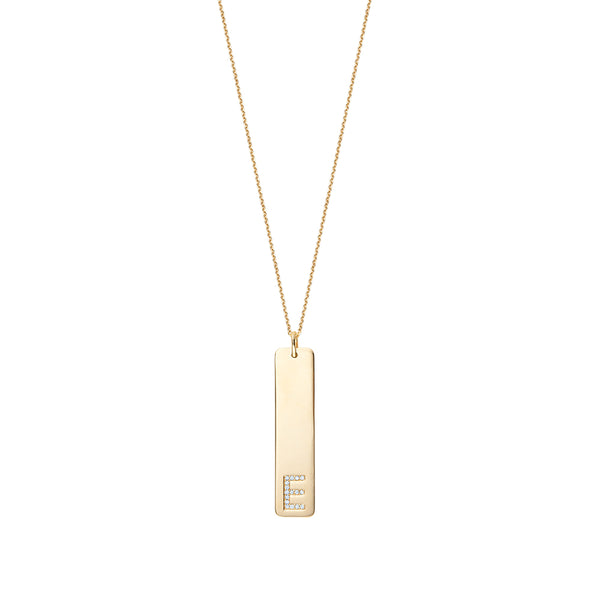 Rectangle Initial Diamond Pendant