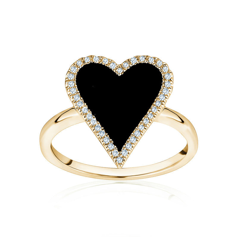 Diamond Black Heart Ring