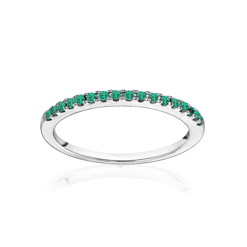 Stackable Pavé Emerald Ring