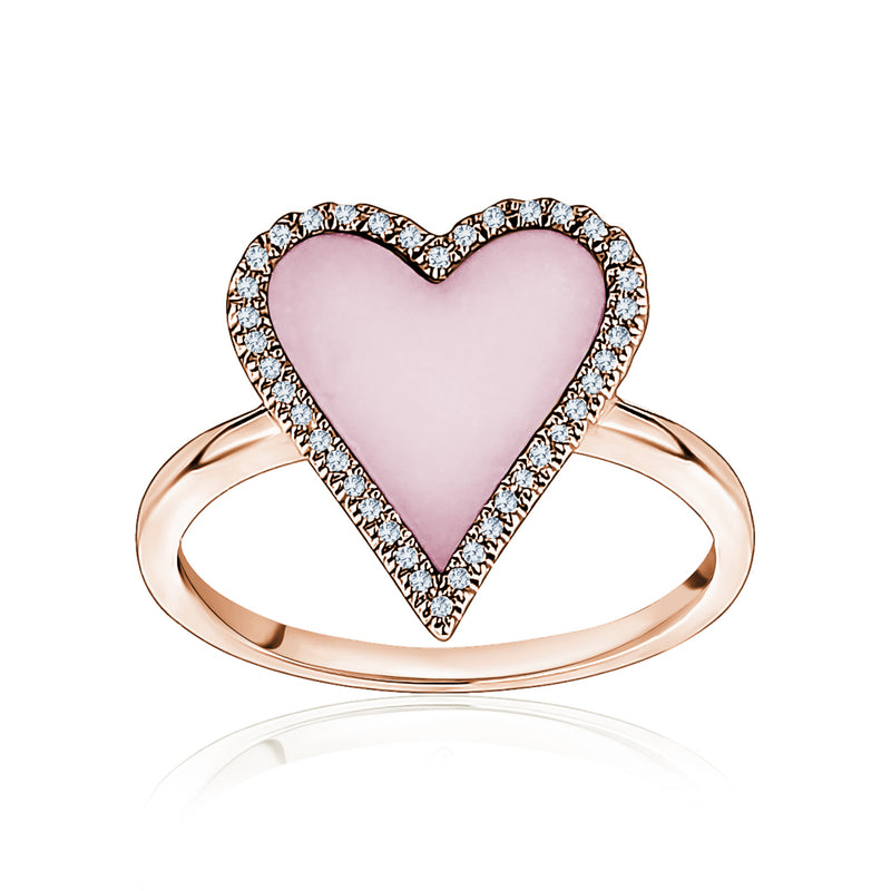 Diamond Pink Heart Ring