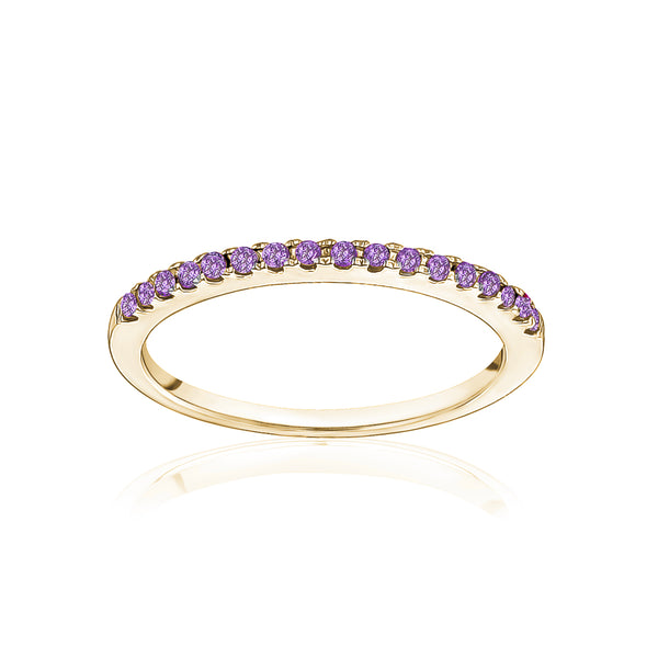 Stackable Pavé Amethyst Ring